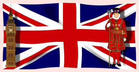 The British Union  Jack  flag with Big Ben and Beefeater plus shadows Stock Vector - 17421214