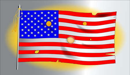 The American flag, the Stars and Stripes against a golden background