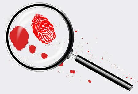 blutspritzer: A magniying Glas exanining einen Fingerabdruck und Blut Splatter