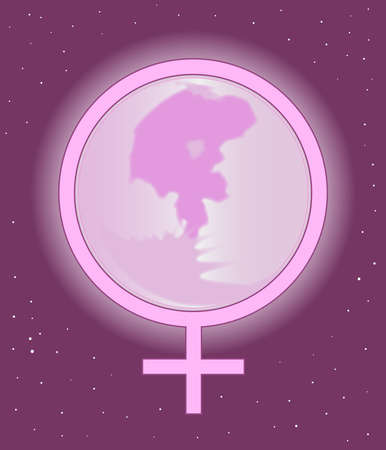 The symbol of femininity over a pink full moon and sky. Stock Vector - 17464337