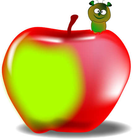 A large red and green juicy apple with a worm emerging  Illustration