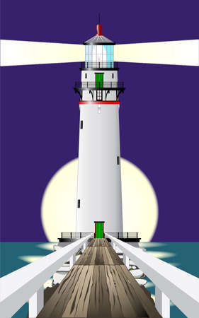 vision nocturna: A lighthous brillante el haz hacia el mar contra una luna llena y mar en calma.
