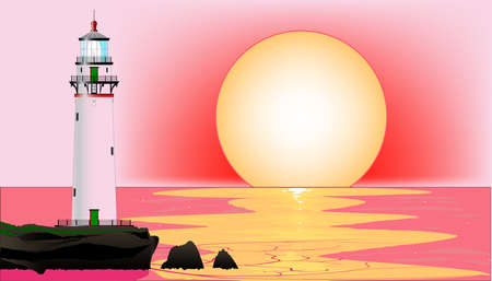 A lighthouse at runset, set against a pink sky and sea  Vector