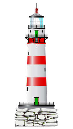A lighthouse isolated against a white background  Vector