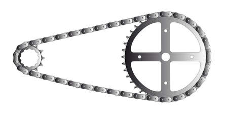 A bicycle chain and the driving and driven cogs isolated on white  Illustration