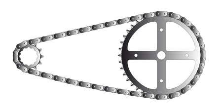cadenas: Una cadena de la bicicleta y de la conducci�n y engranajes accionados aislado en blanco Vectores