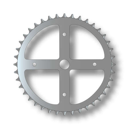 gearing: The front gearing cog of a bicycle  Illustration