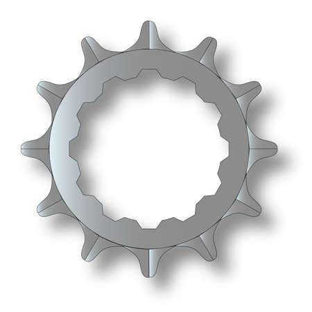 The rear driven cog of a bicycle. Vector