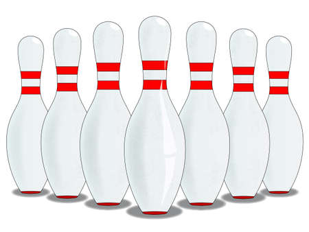 ten pin bowling: A ten pin skittle set up isolated on white. Illustration