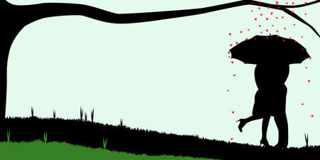 A courting couple, silhouette ,, kissing under an umbrella, during a downpour of red cupids hearts Vector