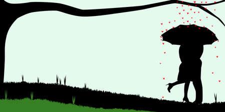 innamorati che si baciano: Una coppia corteggiamento, silhouette,, baciarsi sotto un ombrello, durante un acquazzone di rosso amorini cuori Vettoriali