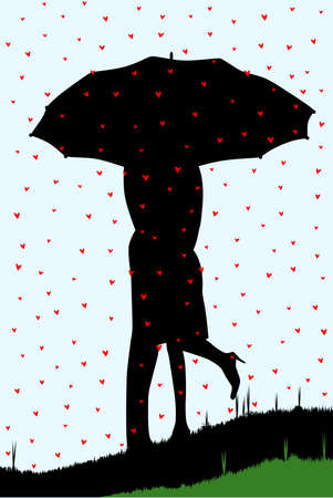 A courting couple, silhouetted, kissing under an umbrella, during a downpour of red cupids hearts. Vector