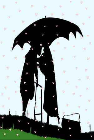 An old couple, silhouetted, kissing under an umbrella, during a downpour of red cupids hearts. Vector