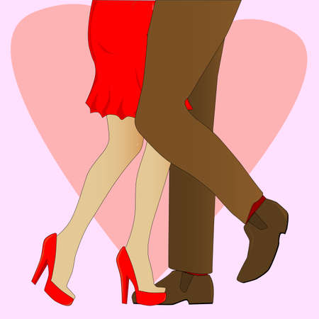 heals: A man and womans legs backdroped by a large heart and pink background