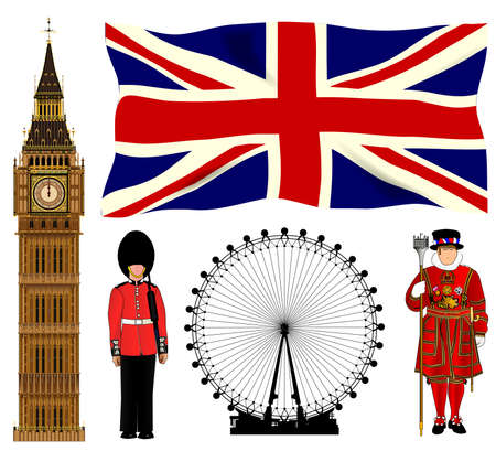 A collection of London and England icons  Vector