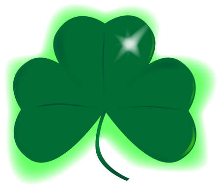 A very lucky green Irish shamrock over white. Stock Vector - 17694571