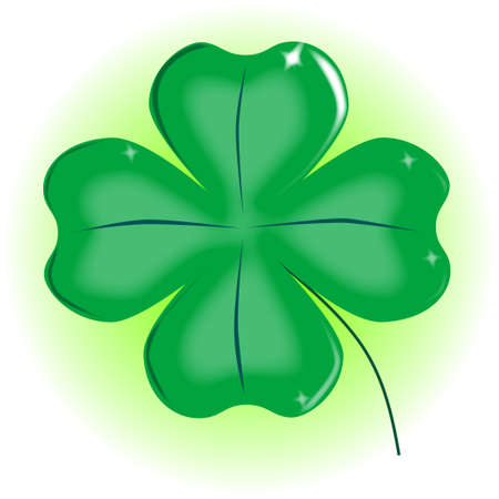 A very lucky green Irish 4 leaf shamrock over white  Stock Vector - 17694570