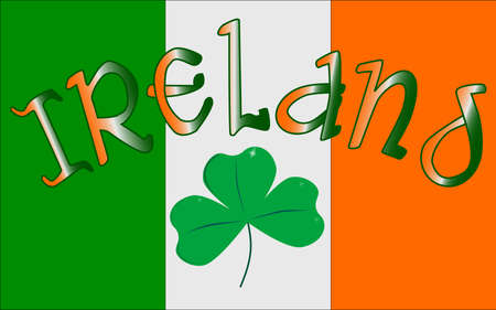 The Republic of Ireland flag with the text IRELAND and a lucky shamrock, a symbol of the Irish people. Vector