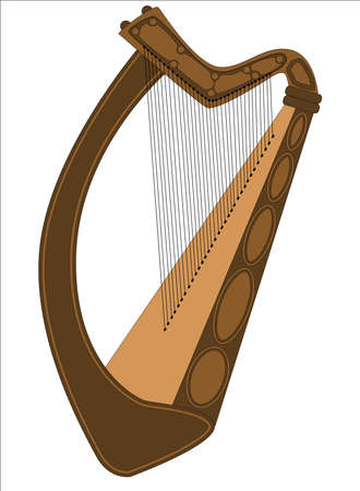 A traditional Irish harp isolated on a white background Stock Vector - 17694569