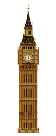 ロンドンのランドマーク、白い背景で隔離ビッグ ベンの時計塔  イラスト・ベクター素材