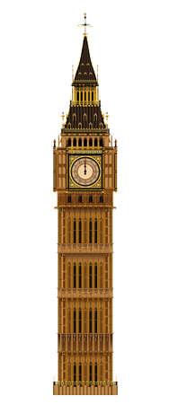 빅 벤 시계탑은 흰색 배경에 격리 된 런던의 랜드 마크