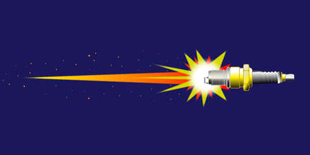 A spark plug illustrated as a rocket ship in outer space  Stock Vector - 17801247