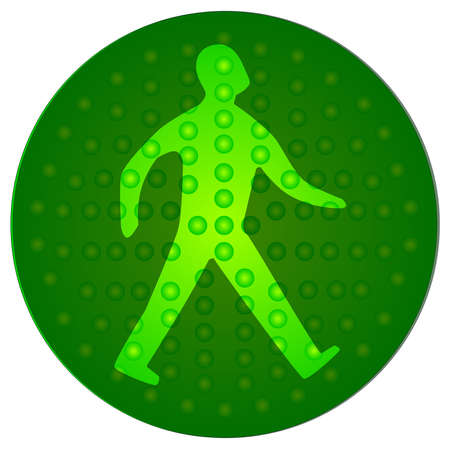 light emitting diode: The green walking man from the traffic signal