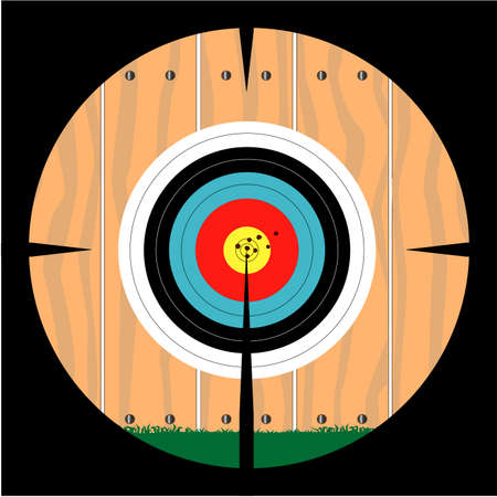 A target pinned to a fence as viewed through a telescopic sight Vector
