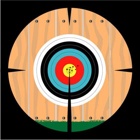 telescopic: Un blanco clavado en una valla como se ve a trav�s de una mira telesc�pica