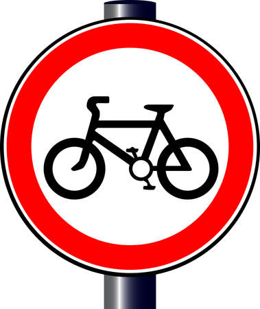 A large round red traffic sign displaying a bicycle Stock Vector - 17801261