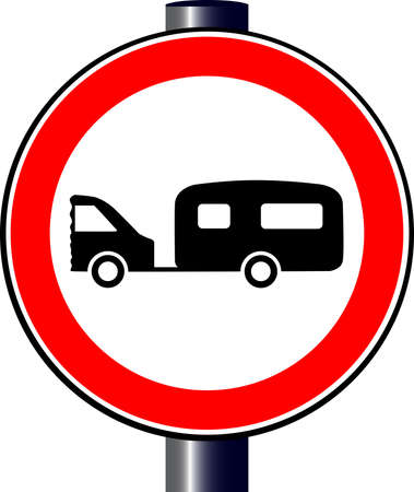 hitched: A large round red traffic displaying a car and caravan