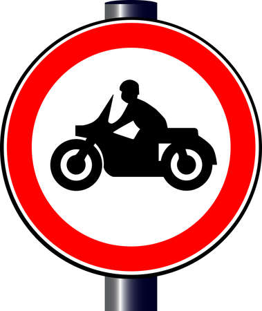 a white police motorcycle: A large round red traffic displaying a motorcycle Illustration
