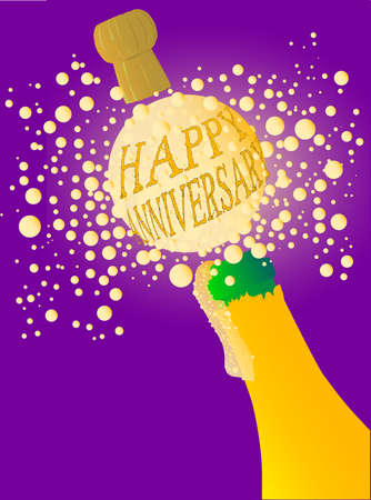 exclaiming: Champagne bottle being opened with froth and bubbles with a large bubble exclaiming  Happy Anniversary  Illustration