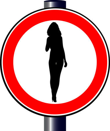 spoof: A large round red traffic displaying a sexy young lady