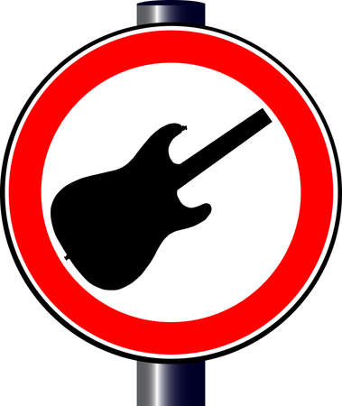 A large round red traffic displaying an electric guitar Stock Vector - 17801288