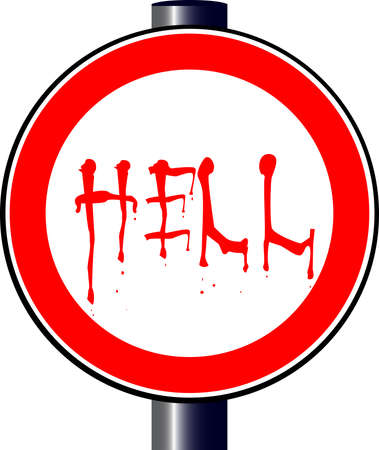spoof: A large round red traffic displaying a HELL traffic sign Illustration
