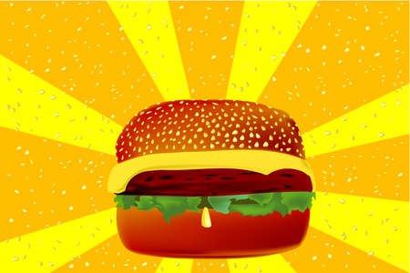 sesame: A large cheese burger in a sesame bun with rays of exploding sesame seads. Illustration