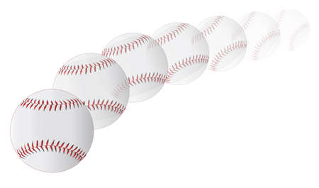 thrown: A new white pitched baseball with red stitching on a faded white background