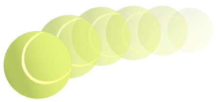 trajectory: A new yellow tennis ball flying through the air on an arc trajectory