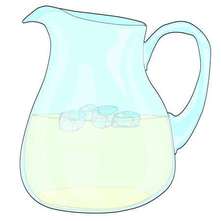 lemonade: A pitcher of lemonade with ice on a white background