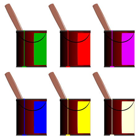 creosote: Large tins of paint with paintbrush handles sticking out from the top of the tins, several common paint colours. Illustration