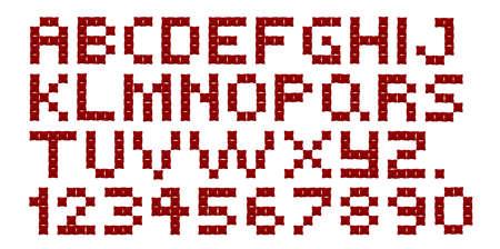 punto croce: Un alfabeto punto croce e numeri su sfondo bianco