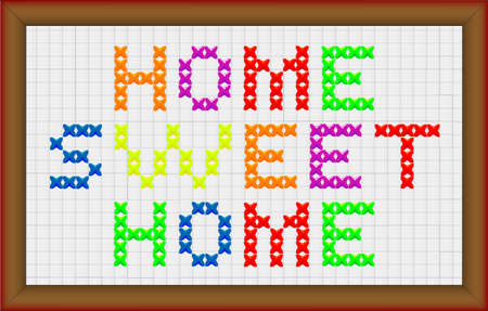 A cross stitch home sweet home with frame border Vector