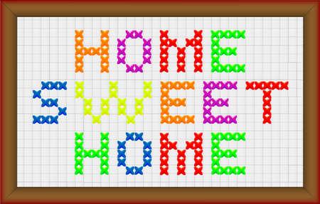 punto croce: Una croce casa dolce casa con bordo cornice