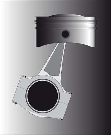A piston from a petrol or diesel engine with the conecting rod in place  Vector