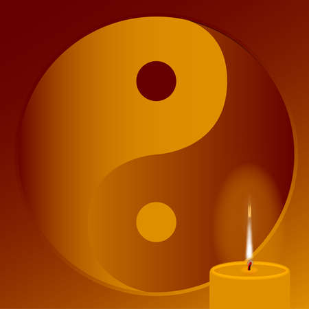 daoism: An orange candle burning in front of a budhist symbol.