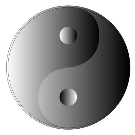 Yin and Yang with definite difference due to the shades of grey scaling. Vector
