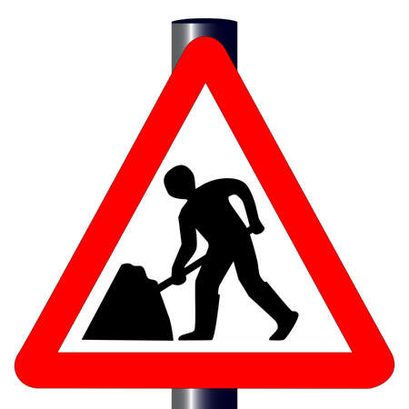 The traditional  Men at Work  traffic sign isolated on a white background Stock Vector - 18173102