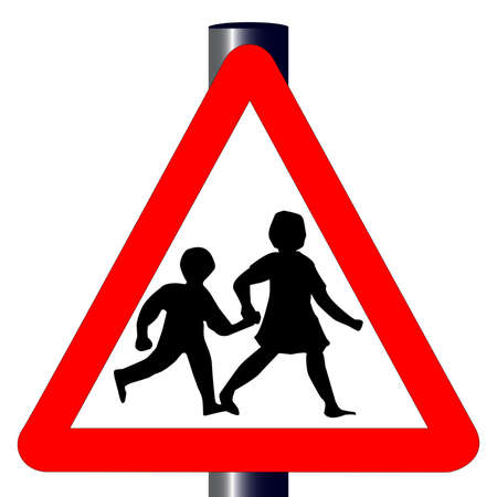 The traditional  children  traffic sign isolated on a white background Stock Vector - 18182375