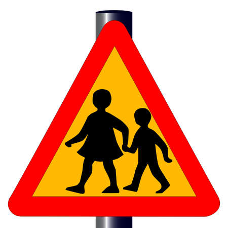 The traditional amber  children crossing  traffic sign isolated on a white background   Stock Vector - 18173103
